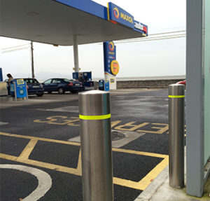 Kent's stainless steel bollards for a petrol station in Dublin