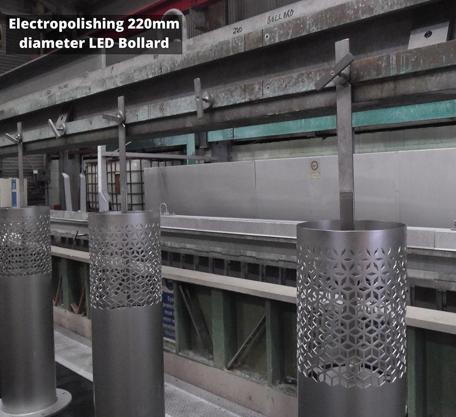 Electropolishing a 220mm diameter LED Bollard