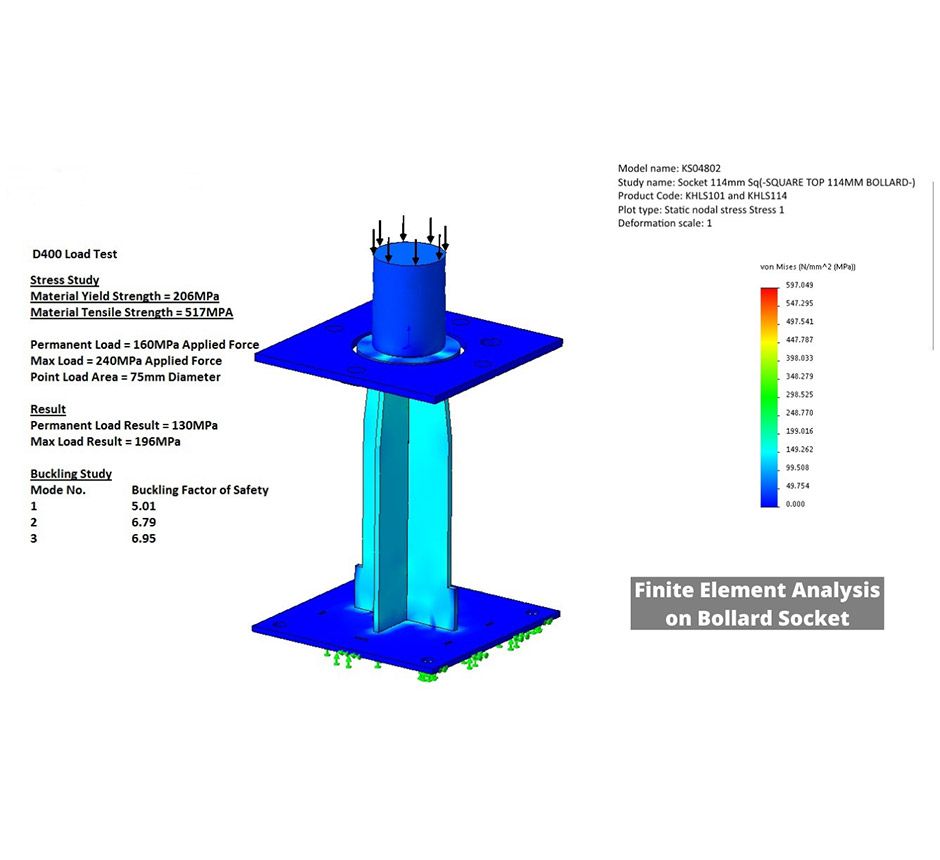 Finite element analysis on a bollard socket